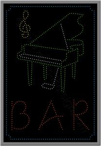 Led λογότυπο με πιάνο για piano bar.
