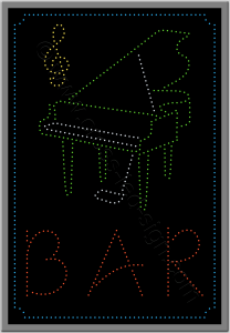 Led λογότυπο με πιάνο για piano bar και καφετέριες.