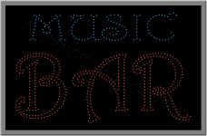 Επιγραφή music bar με λαμπάκια led.