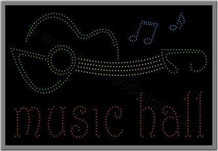 Επιγραφή καφετέριας led music hall με κιθάρα.