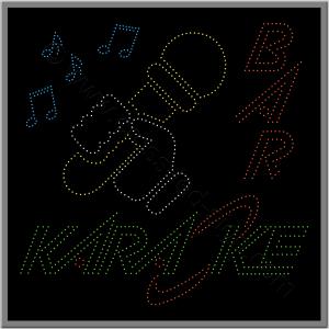 Μεγάλη επιγραφή led karaoke, με μικρόφωνο και νότες.