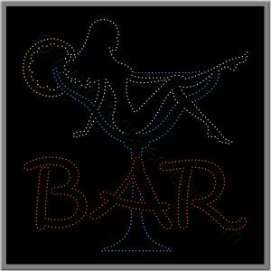 Επιγραφή led για bar, κοπέλα σε ποτήρι.