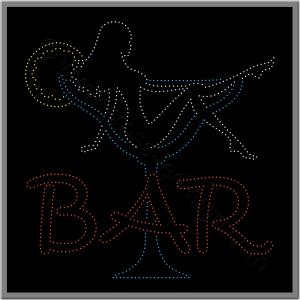 Επιγραφή για καφετέρια led για bar, κοπέλα σε ποτήρι.