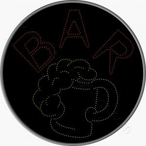 Στρογγυλή επιγραφή καφετέριας led για cafe bar με ποτήρι μπύρας.