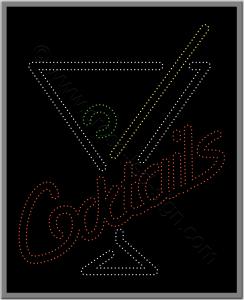 Bar επιγραφή με led για καφετέριες, coctails και ποτήρι με καλαμάκι.