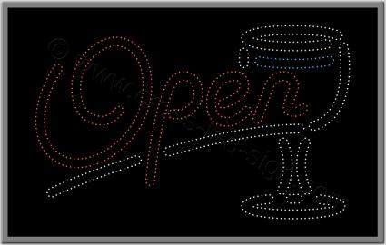 Επιγραφή open και ποτήρι για bar, με τεχνολογία led.
