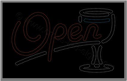 Επιγραφή καφετέριας open και ποτήρι για bar, με τεχνολογία led.