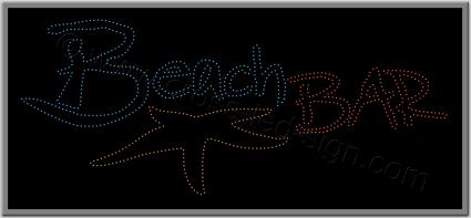 Επιγραφή beach bar με led, σχέδιο αστερίας.