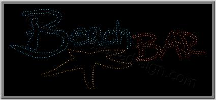 Επιγραφή καφετέριας beach bar με led, σχέδιο αστερίας.