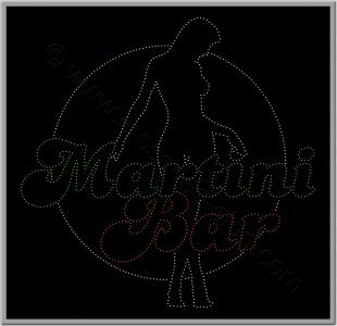 Επιγραφή led για bar, κοπέλα και λογότυπο.