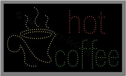 Ξενόγλωσση επιγραφή led hot coffee, με ποτήρι ζεστό καφέ.