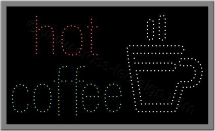 Ξενόγλωσση επιγραφή led, με ποτήρι και logo hot coffee.