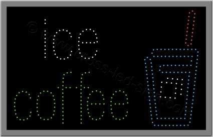 Ξενόγλωσση επιγραφή για εστιατόριο led, με ποτήρι και logo ice coffee.