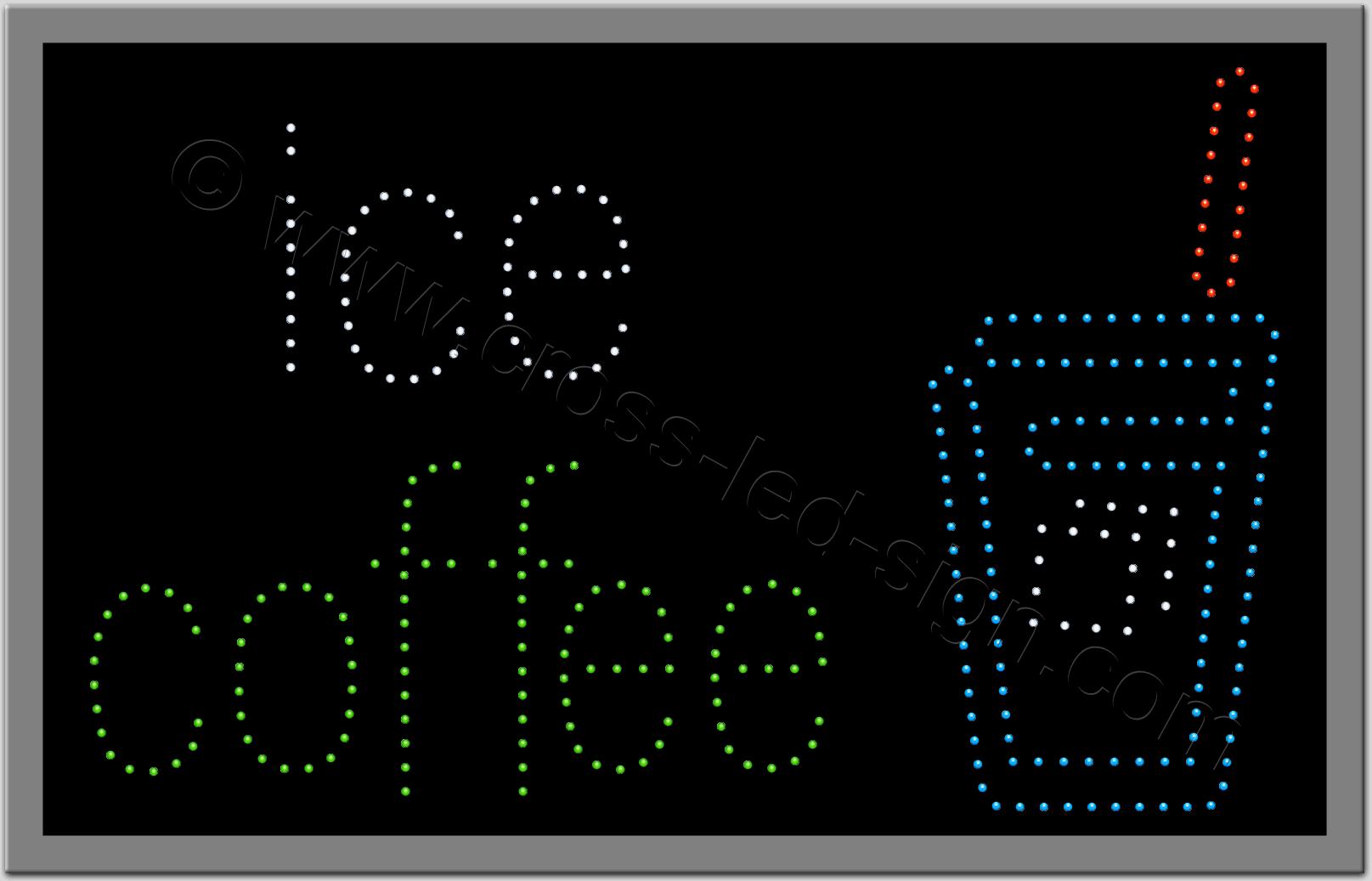 Ξενόγλωσση επιγραφή led, με ποτήρι και logo ice coffee.