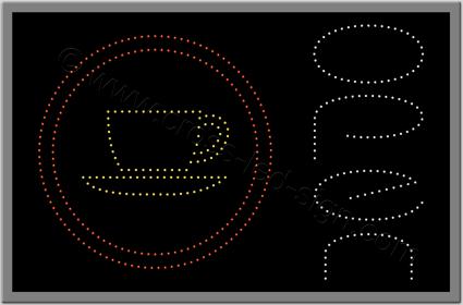 Επιγραφή led open με ποτήρι καφέ σε κύκλους.