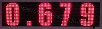 Πινακίδα led βενζινάδικου 128 x 32 εκατοστά με ένδειξη τέσσερα ψηφία τιμής καυσίμου.