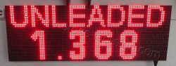 Πινακίδα led βενζινάδικου 96 x 32 εκατοστά με ένδειξη unleaded και τιμή.