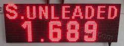 Πινακίδα led βενζινάδικου 96 x 32 εκατοστά με ένδειξη s. unleaded και τιμή.