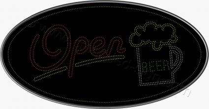 Οβάλ επιγραφή led open, για καταστήματα μπύρας ή bar.