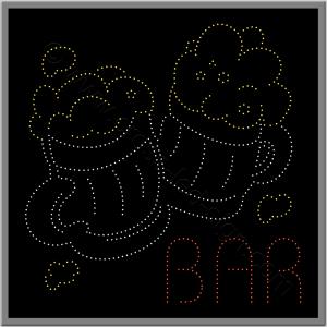 Επιγραφή με δύο ποτήρια μπύρες από led και λογότυπο bar.