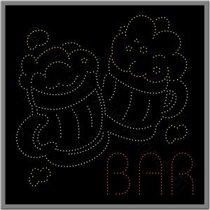 Επιγραφή καφετέριας με δύο ποτήρια μπύρες από led και λογότυπο bar.