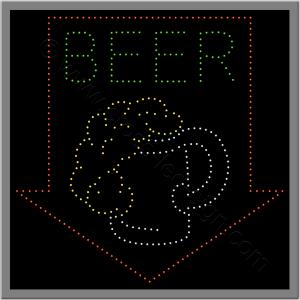 Επιγραφές καφετεριών με ποτήρι μπύρα και βέλος από led.
