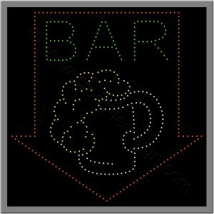 Επιγραφή καφετέριας led για bar με ποτήρι μπύρας και βέλος.