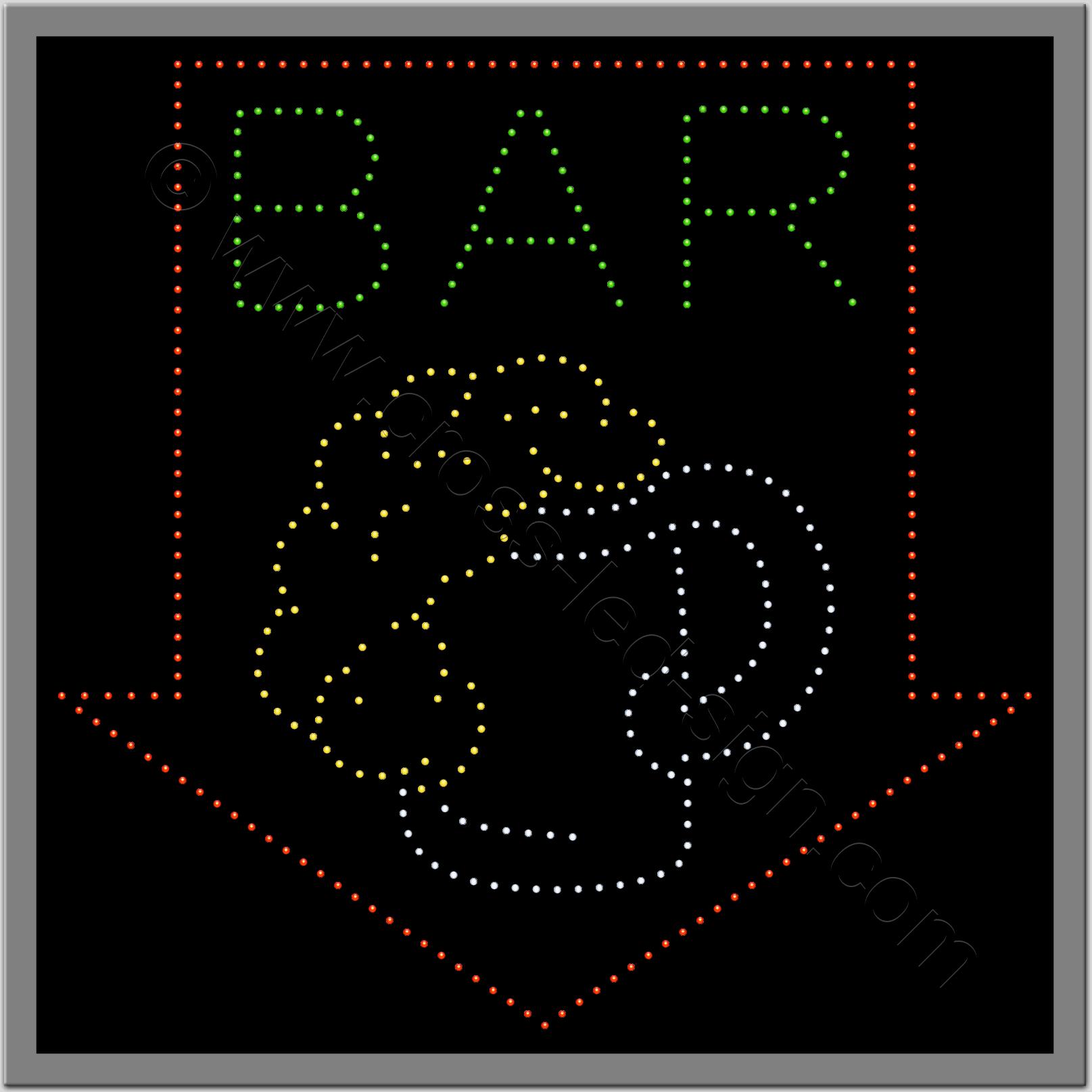 Επιγραφή led για bar με ποτήρι μπύρας και βέλος.