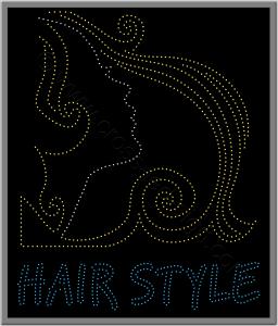 Κοπέλα και hair style, κατασκευή επιγραφής κομμωτηρίου με led.