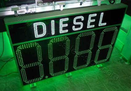 Επιγραφή βενζινάδικου led diesel 200x135 cm, με ψηφία 3 σειρών led. Αλλαγή τιμών μέσω τηλεχειριστηρίου RF.