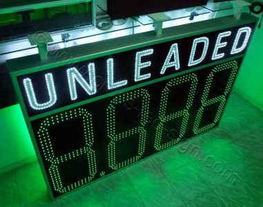 Επιγραφή βενζινάδικου led unleaded 200x135 cm, με ψηφία 3 σειρών led. Αλλαγή τιμών μέσω τηλεχειριστηρίου RF.
