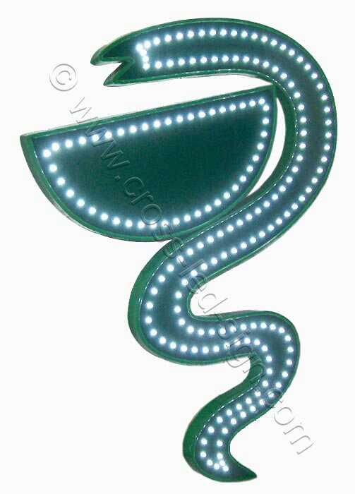 Φίδι γουδί επιγραφές φαρμακείων led - 02.