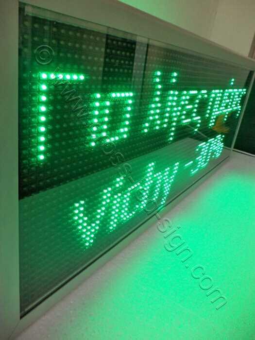 Ηλεκτρονική επιγραφή με πράσινα led 103x39 εκ. με προστατευτικό πολυκαρβονικό κάλυμμα.