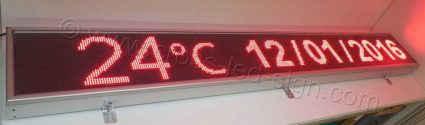 Ηλεκτρονικές επιγραφές led 295x39 με ένδειξη θερμόμετρο και ημερομηνία.