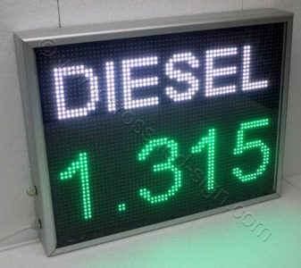 Ηλεκτρονική πινακίδα led 71 x 55 εκ. τιμοκατάλογος diesel για βενζινάδικο.