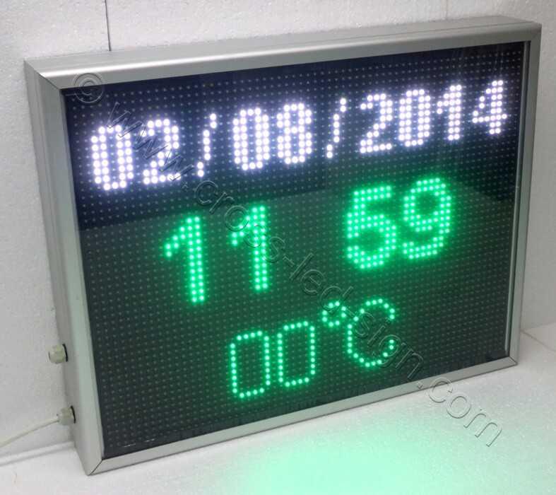 Ηλεκτρονική επιγραφή led 71Χ55 εκ. ώρα-θερμοκρασία-ημερομηνία.