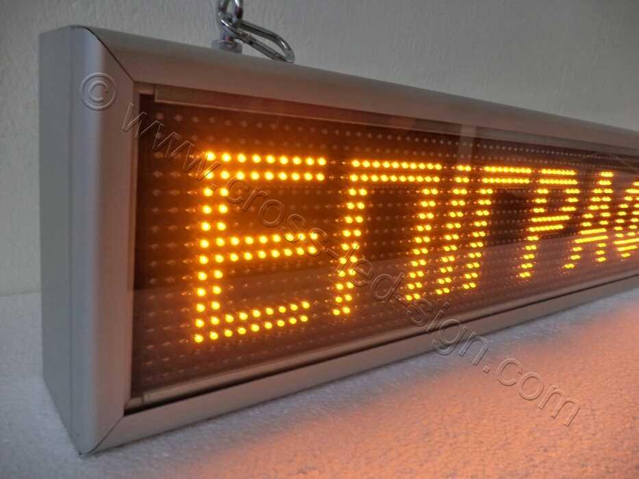 Ηλεκτρονική επιγραφή led 135 X 23 εκατοστά, κίτρινα led, προστασία οθόνης με πολυκαρβονικό κάλυμμα.