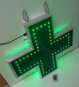 Ηλεκτρονικοί σταυροί φαρμακείων 70 εκ. με την εξωτερική σειρά led αναμμένη.