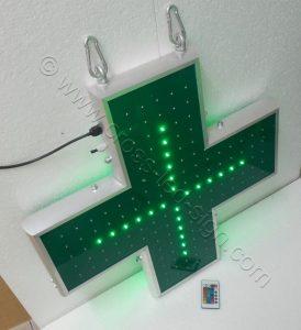 Ηλεκτρονικοί σταυροί φαρμακείων 70 εκ. με την εσωτερική σειρά led αναμμένη.
