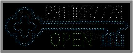 Επιγραφή κλειδαρά led κλειδί, open και τηλεφωνικός αριθμός με led.