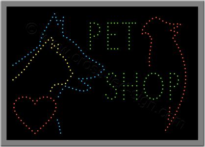 Επιγραφές pet shop με καρδούλα, σκύλο, γάτα και παπαγάλο.