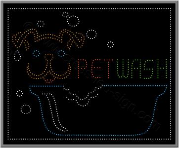 Pet wash επιγραφή led για κτηνιατρείο και pet shop.