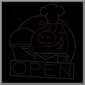 Πινακίδες καταστημάτων led restaurant open 1w.