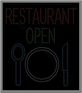 Πινακίδες καταστημάτων led restaurant open 4w.