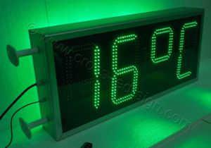 Ρολόι μεγάλο 100x45 εκατοστών με ένδειξη θερμοκρασίας, διπλή σειρά led.