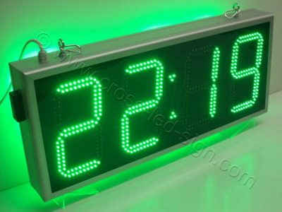 Επιγραφή ρολόι led 85 x 38 εκατοστών, με πράσινα led.
