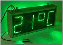 Επιγραφή ρολόι led 59 x 27 με ένδειξη θερμοκρασίας.