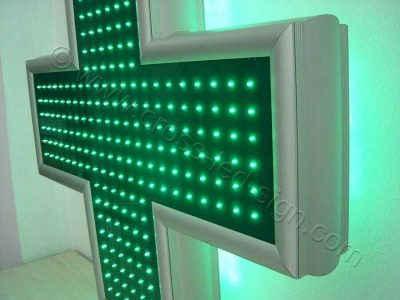 Πλαίσιο σταυρού φαρμακείου LED 90 cm, από ανοδιωμένο αλουμίνιο.