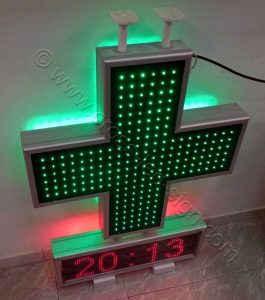 Όλα τα led του σταυρού αναμμένα και ένδειξη ώρας.