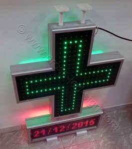 Κεντρική πλευρά led σταυρού αναμμένα και ένδειξη ημερομηνίας.